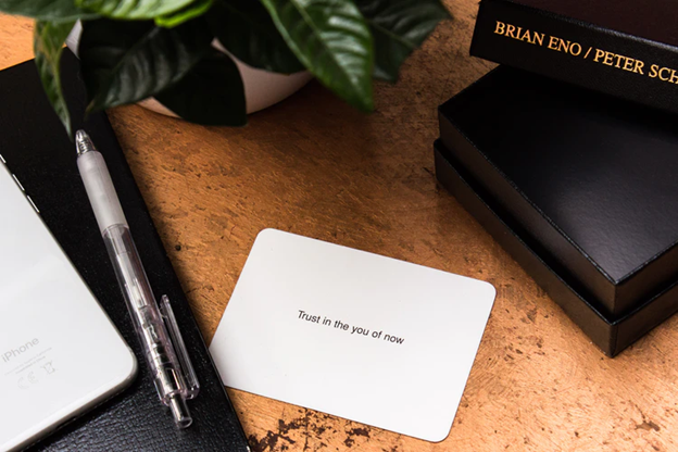 blank business card saying - trust in the you of now