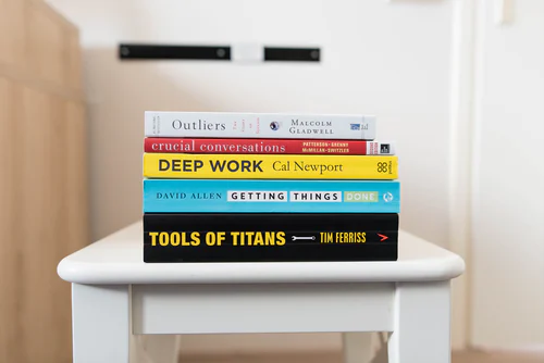 stack of books on a stool